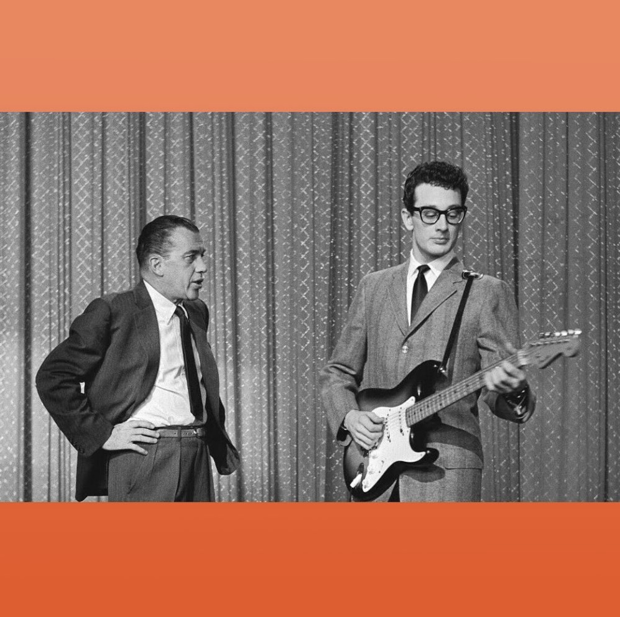 Buddy Holly with his Fender Stratocaster